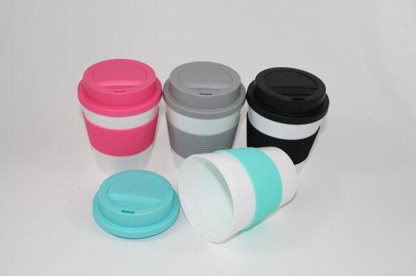 Kaffeebecher Coffee to go, 4 Farben, mit Hitzeschutz aus Silikon