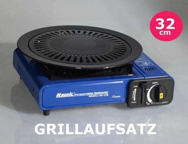 Grillplatte BBQ Grillaufsatz 32cm für Tragbare Gaskocher Ronic