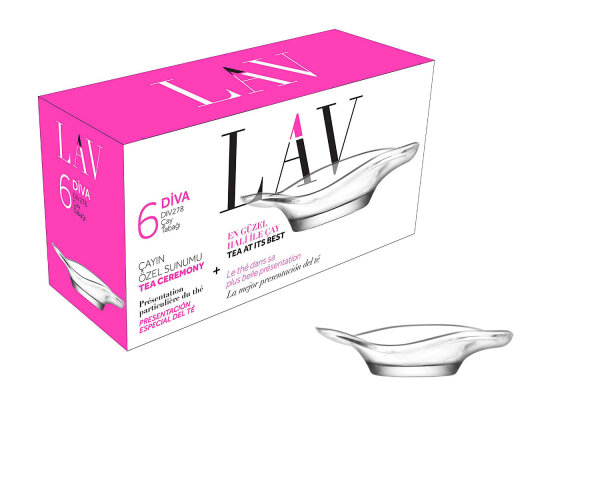 "LAV 6tlg. Unterteller-Set aus hochwertigem Glas Untertasse Cay Tabagi""Serie DIVA"" (DIV278)"