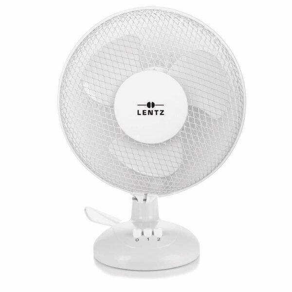 LENTZ Tischventilator Ventilator 23 cm Oszillieren Luftkühler 2 Stufen Weiß