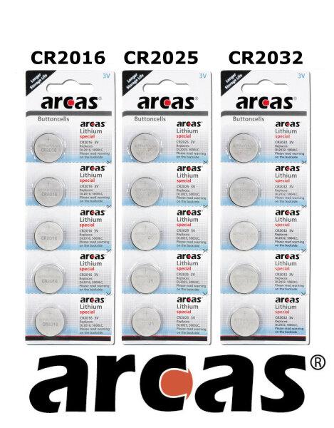 Arcas Knopfzelle CR2016, CR2025, CR2032  Original Batterie Blister 3V Lithium