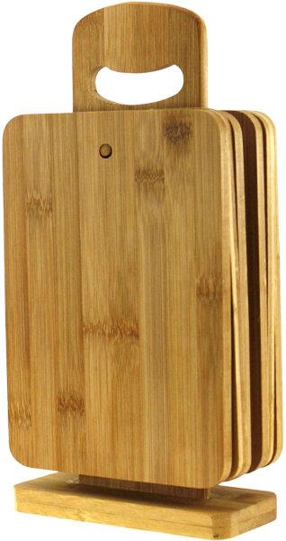 7tlg Bambusbrettchen incl. Ständer Bambus  Frühstücksbrettchen