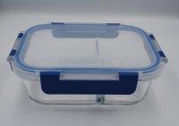 Glas-Frischhaltedosen mit 2 Fächern inkl. Deckel
