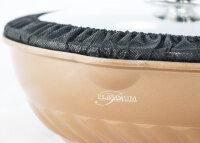 WOK Wokpfanne Woktopf Induktion 28cm Aluguss Deckel Kupfer