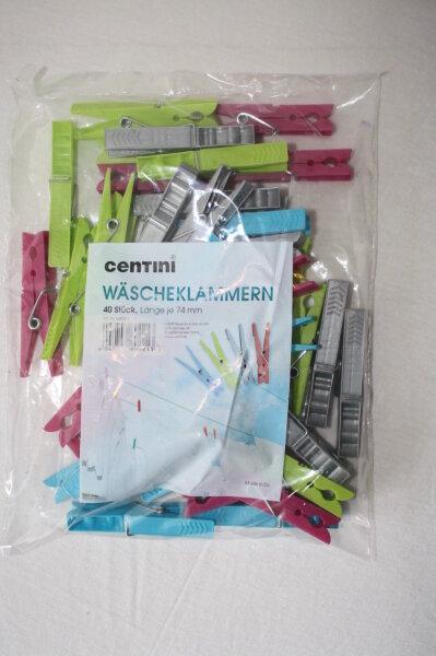 Centini Wäscheklammern,  2 x 40er Pack, Länge ca. 74 mm Farbig sortiert