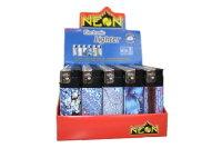 50 Neon Elektronik Feuerzeug versch. Motive nachfüllbar