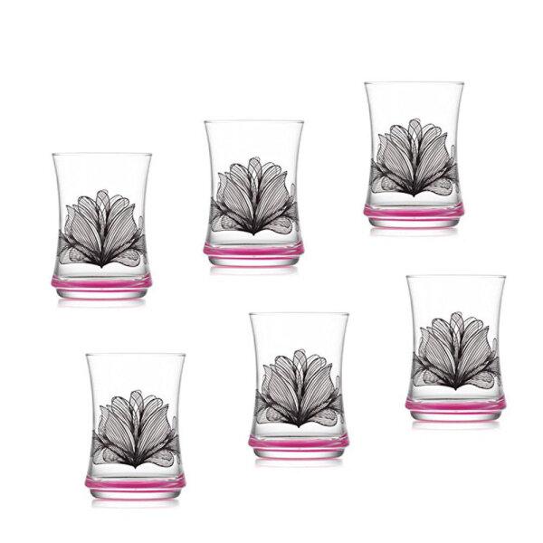 6 Stk. Glas Trinkglas Wassergläser Gürallar Lav Lotus Saftglas Gläser