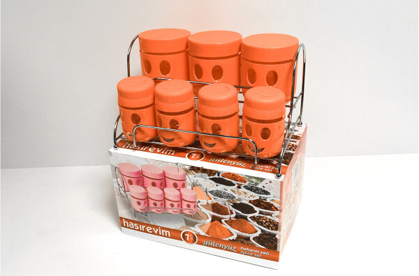 7tlg. Gewürzbehälter +  Edelstahl Ständer Hasirevin gülenyüz baharat Seti